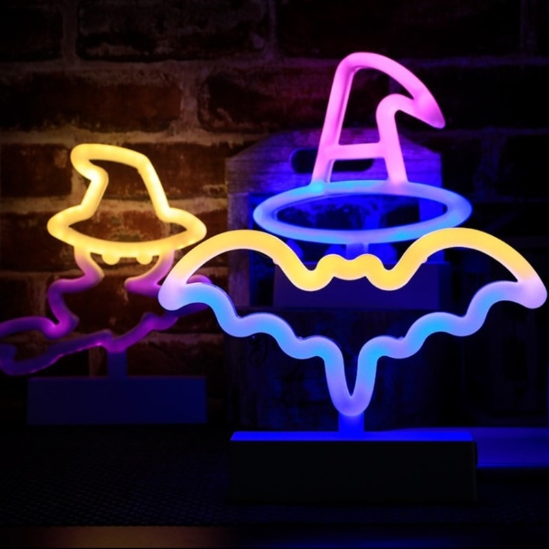Halloween Decoration LED Light Witch Hat Candy Night Light Party Ornaments Lamp for Bedroom Bar Coffee Decor Lighting Skull Lamp enlarge