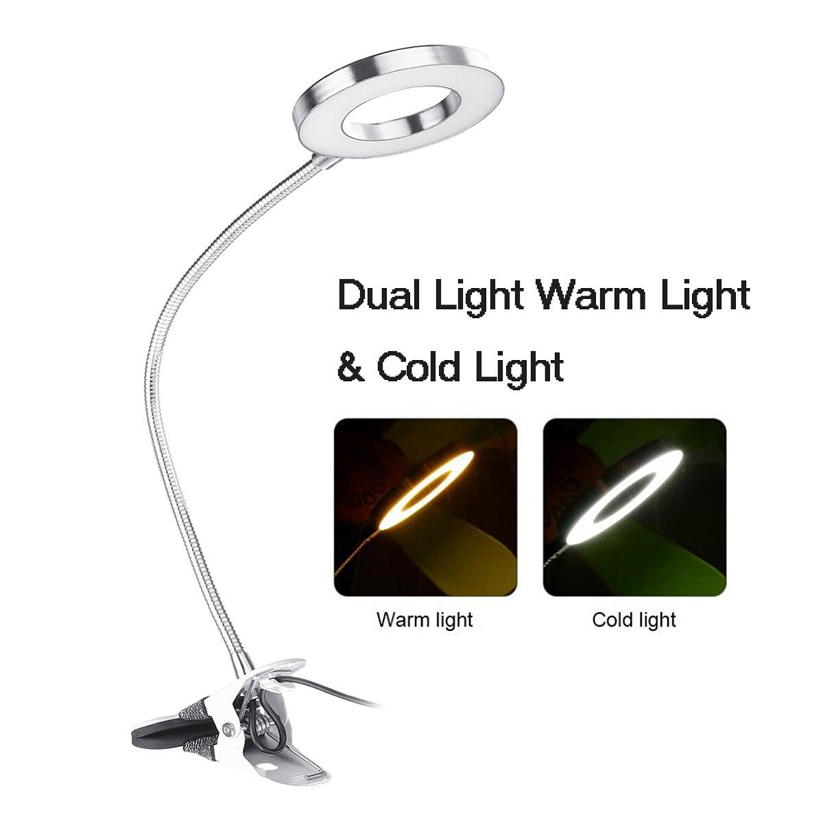 Lampka LED z klipsem lampa stołowa ściemnianie lampka na biurko permanentny Manicure do brwi światło USB akumulator do nocne czytanie pielęgnacja paznokci makijaż