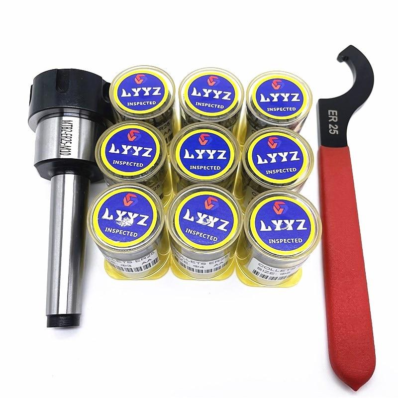 ER25 9 قطعة عالية الدقة 0.008 أسطوانة معدنية + 1 قطعة MT2 أو MT3 أو MT4 ER25 مورس أداة حامل + 1 قطعة ER25 وجع