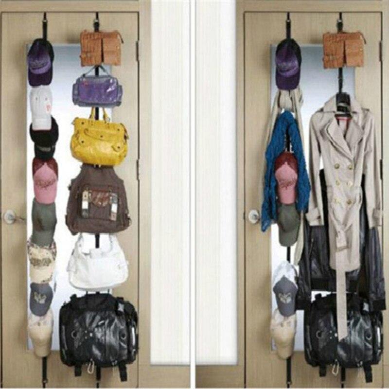 Ganchos para colgar por encima de la puerta, organizador de bolsos, bolsos, bufandas, sombreros en paquete colgante con 8 ganchos