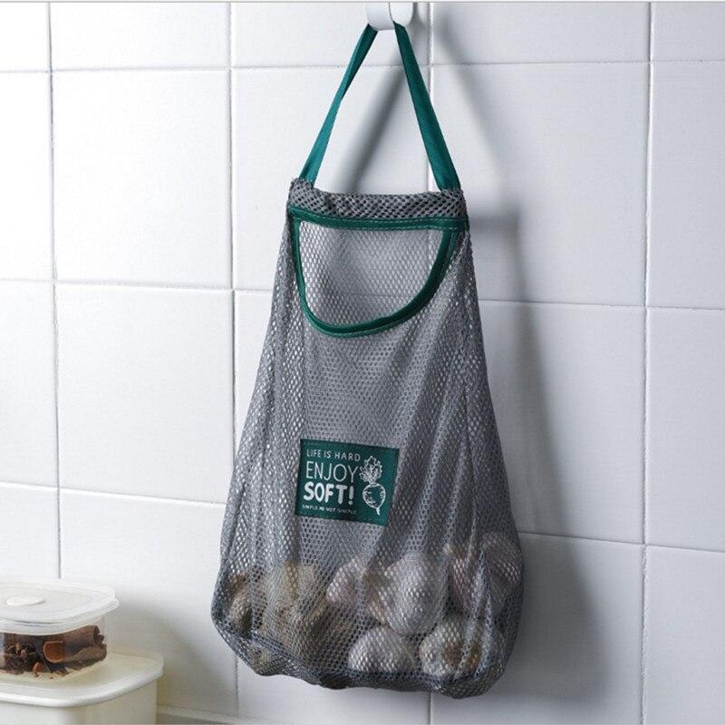 Складной висячий карман для хранения дышащая многоразовая Сетчатая Сумка кухонный складной Чеснок Лук овощей сортировочная сумка органайзер