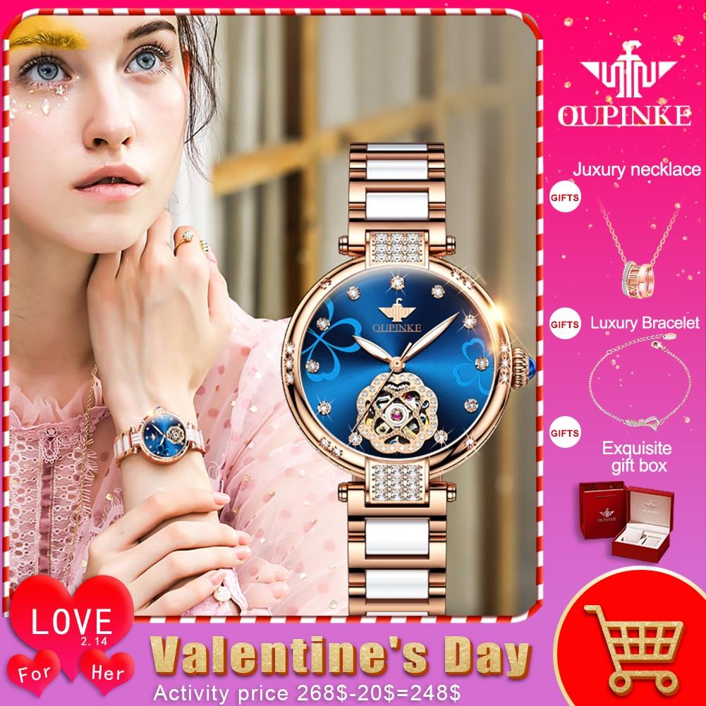 OUPINKE Top Luxury Brand Automatic Mechanical Women Watch Waterproof Tungsten Steel Watchstrap Gift Box Automatic Watches Women