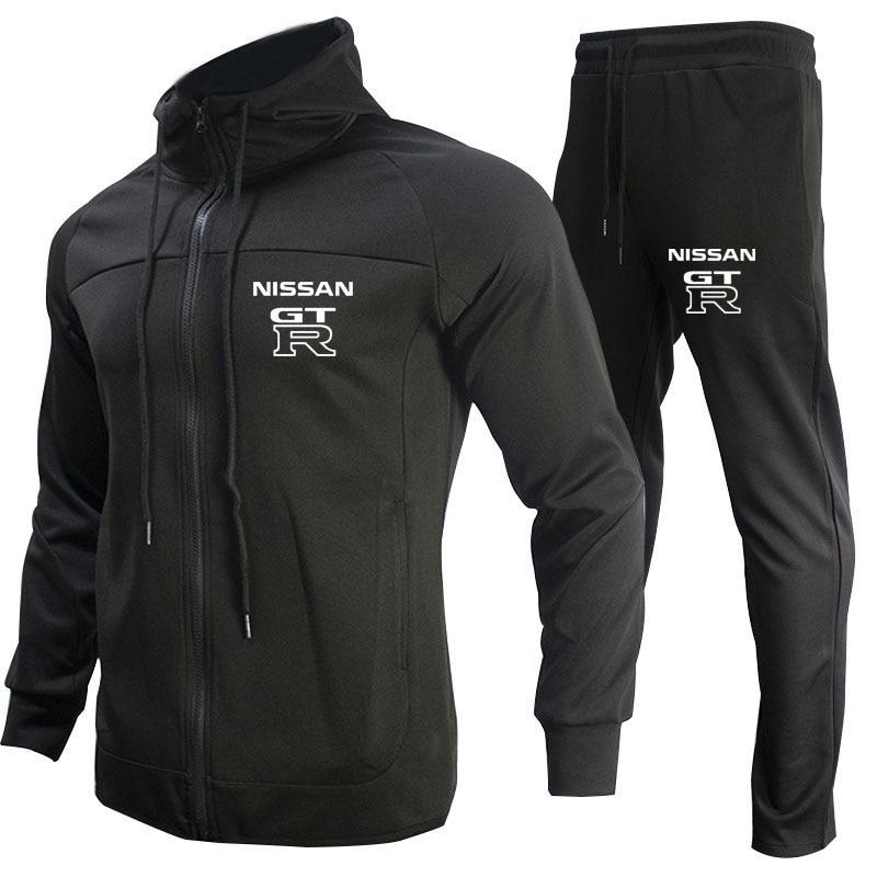 رياضية غير رسمية Sweatpants سترة GTR شعار سيارة طباعة رجالي رياضية 2021 الخريف الرجال التباين اللون 2 قطعة مجموعة سترة + السراويل