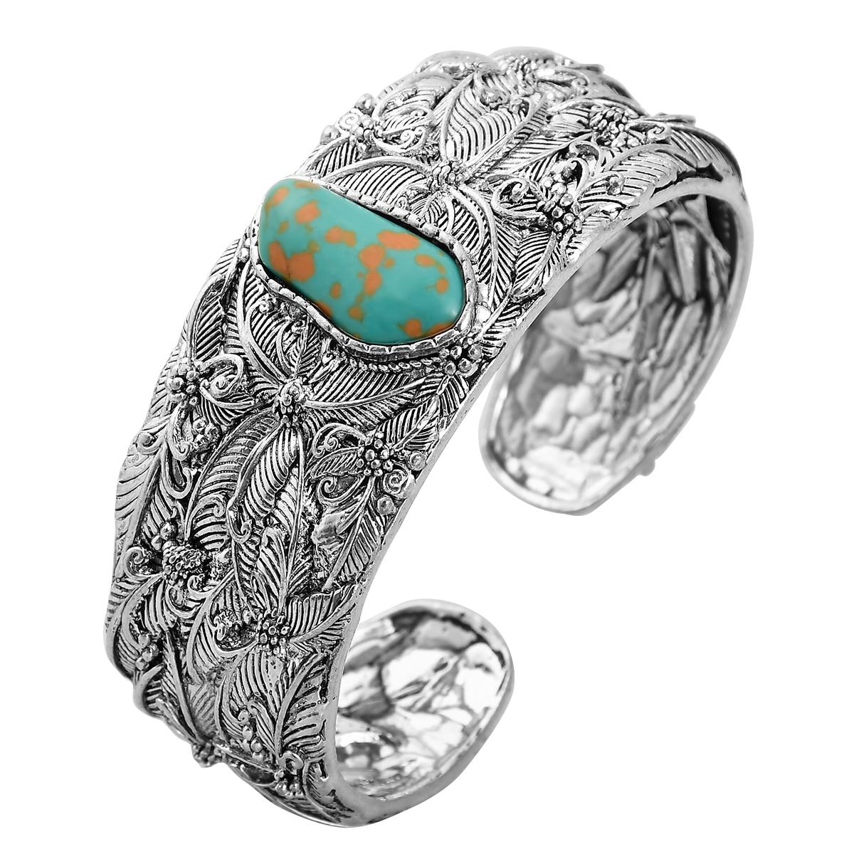 Joyería étnica de diseño único, brazalete de gran cristal abierto con brazo ancho, brazalete de piedra azul para hombres, brazalete llamativo para mujeres