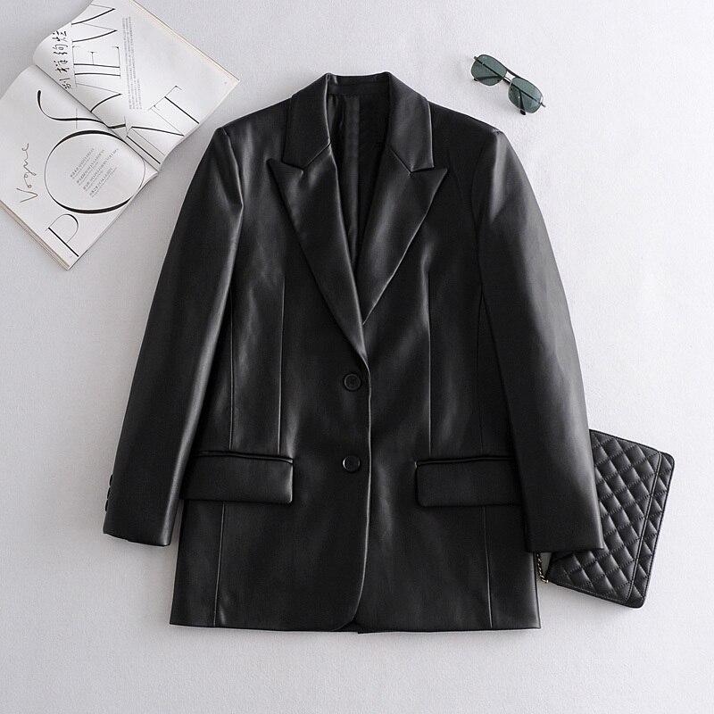 Женская куртка 2021 Молодежная весенне-осенняя однотонная куртка из искусственной кожи с лацканами и длинным рукавом