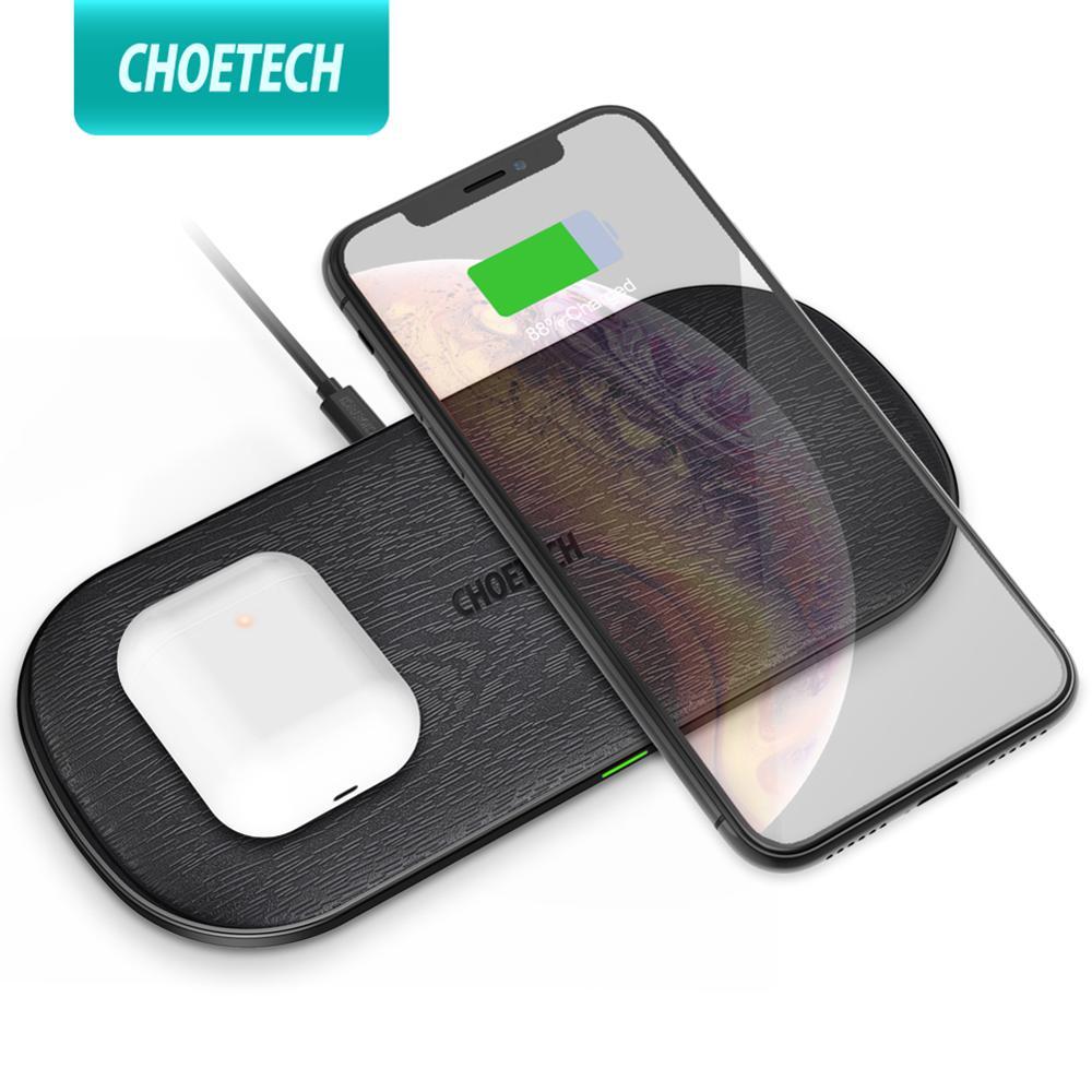 CHOETECH 18 Вт Qi двойное Беспроводное зарядное устройство 5 катушек для iPhone 11 X XS Max 8 XR Быстрая зарядка для samsung S10 S8 S9 Новые AirPods 2