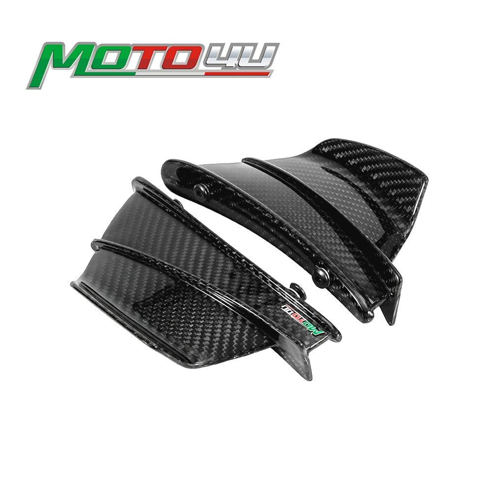 Nuevo kit aerodinámico de fibra de carbono para motocicleta, kit de alas fijas, carenado, ala brillante, tejido de sarga para Ducati panille V4