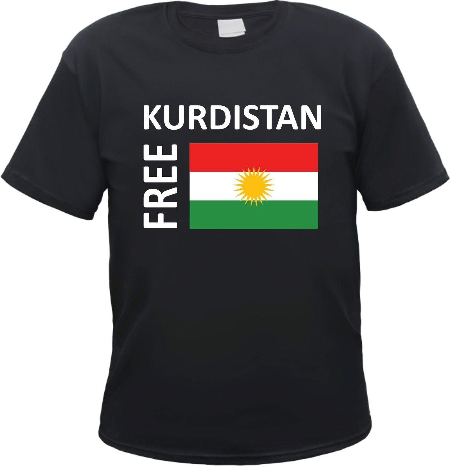 حر كردستان تي شيرت-طباعة نص/علم-S 3XL-Kobane