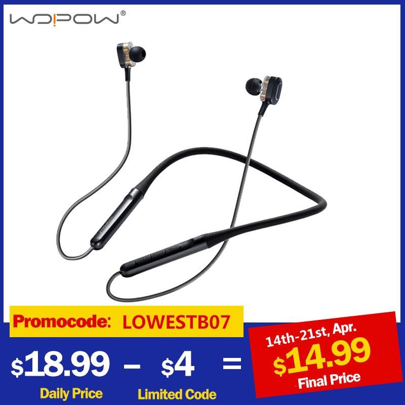 WOPOW Bluetooth 5.0 Wireless Headphones Dual Dynamic Drivers 4 Speakers Headset HIFI 3D Stereo Neckb