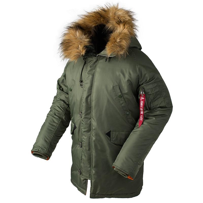 Зимняя мужская Куртка-пуховик N3B, длинная Куртка аляска, военный меховой капюшон, теплый Тактический Бомбер, армейская Корейская утепленная...