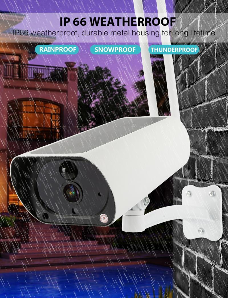 Outdoor Solar Security Camera 1080P Wireless WiFi Camera 4XDigital Zoom Colorful Night Vision PIR Motion Alarm Two Way Audio Cam
