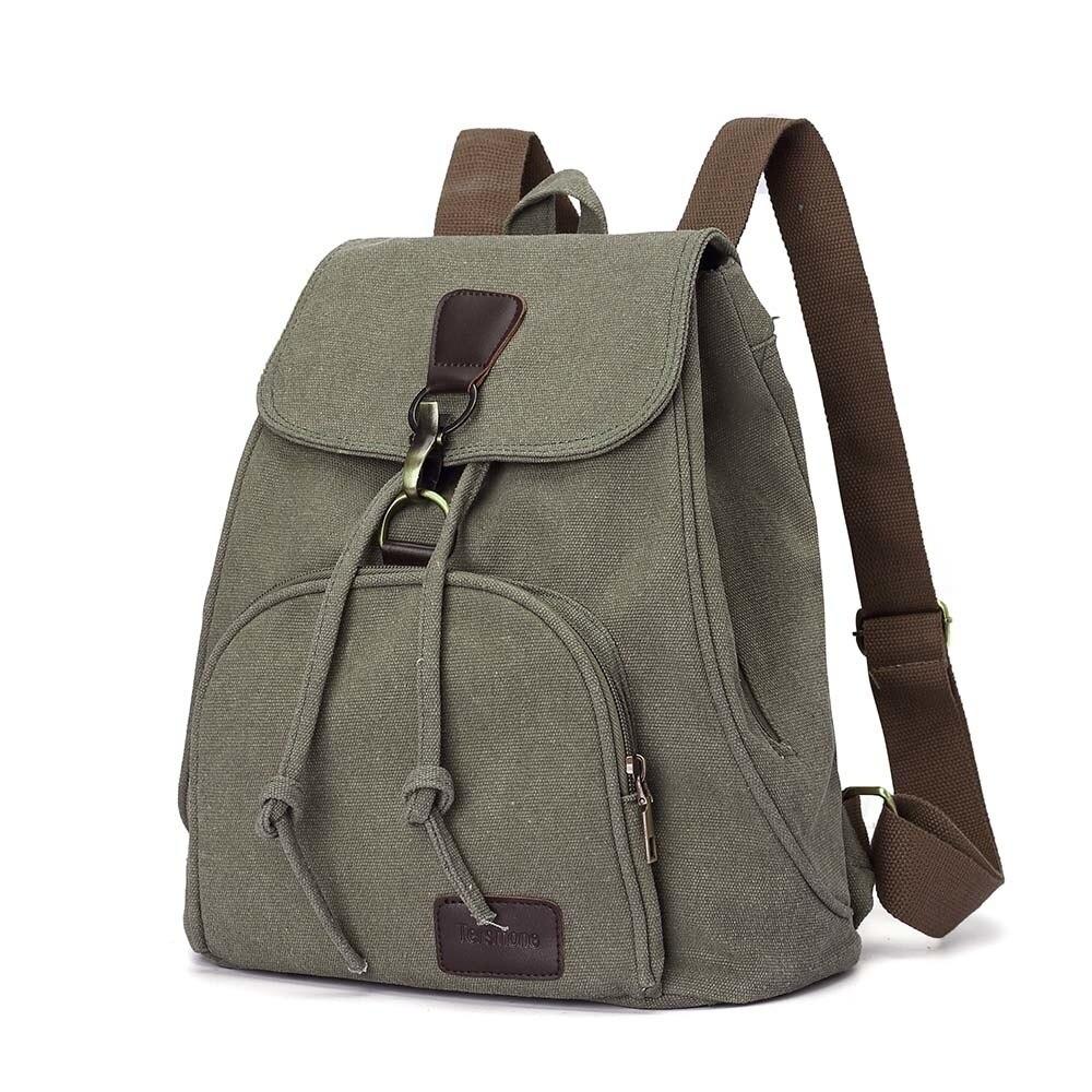 Woman canvas backpacks female vintage bag fashion backpacks for teenage girls retro College student