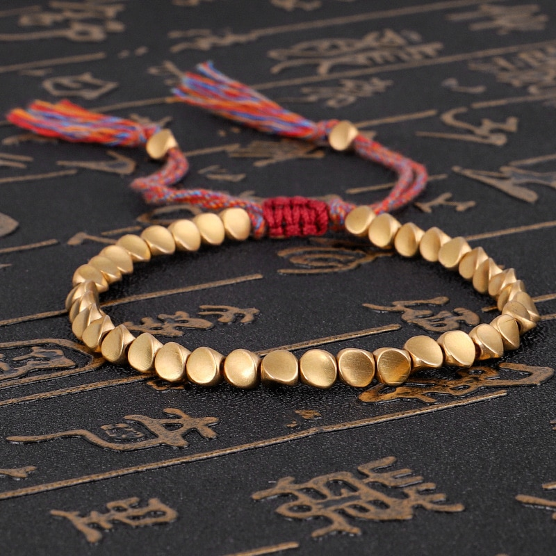 Handmade Tibetan Buddhist Braided Cotton Copper Beads Lucky Rope Bracelet & Bangles For Women Men Th