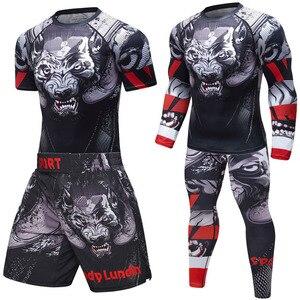 Superior Quality BJJ Boxing Set Men Sport kickboxing Jiu Jitsu Pants Fitness T shirt+Shorts Gym MMA Fightwear Sportsuit Boxeo