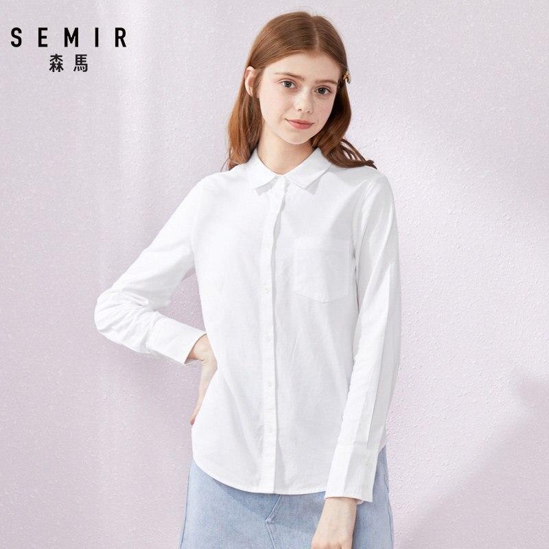 SEMIR 2020 primavera nueva Blusa de manga larga camisas de algodón para mujer bolsillo con solapa tops de algodón camisas ropa de mujer