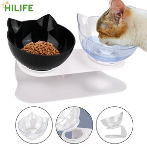 Pet Food Water Feeder Non-slip Durable Double Bowls Protection Cervical With Raised Stand Cat Bowl Dog Bowl