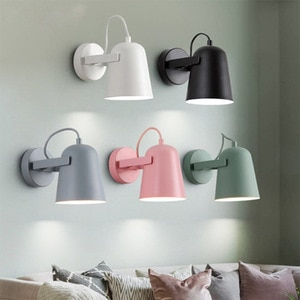 Modern Led Indoor Wall Lights Fixture Wrought Iron Lampshade Macarons Nordic Wall Sconce Bedside Aisel Reading Lamp Luminaire