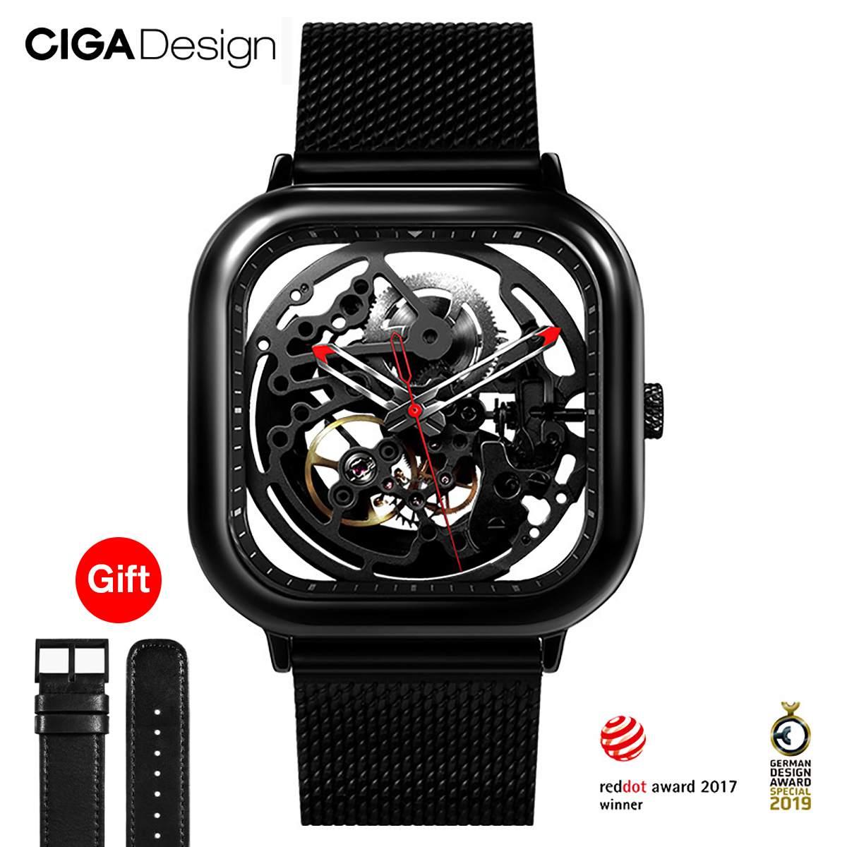 Reloj negro reloj mecánico hueco automático reloj mecánico cuadrado relojes de moda para hombres