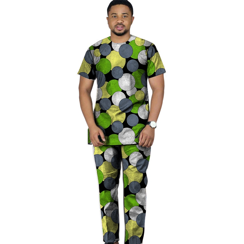 Camisa de impresión Africana + pantalón conjunto de ropa para hombre Camiseta de manga corta con pantalón 2 piezas kente trajes hombre boda ropa personalizada