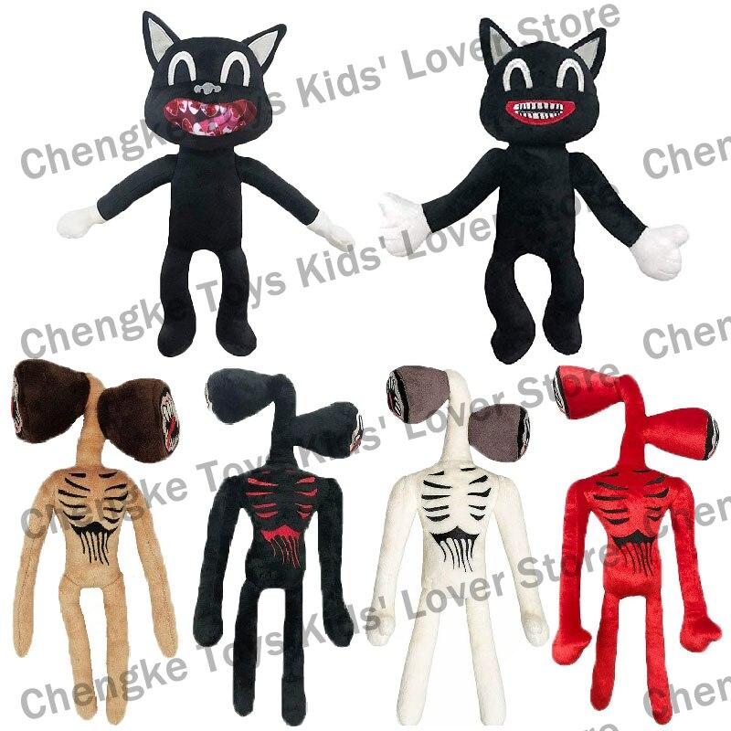 قطيفة رأس صفارة الإنذار للأطفال ، لعبة قطيفة ، قطة سوداء ، رسوم متحركة ، لعبة رعب ، هدية الكريسماس