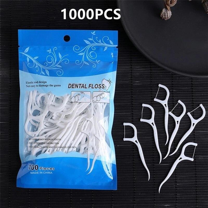 1000PCS Dental Floss Flosser Picks Toothpicks Teeth Stick Tooth Cleaning Interdental Brush Dental Floss Pick Oral Hygiene
