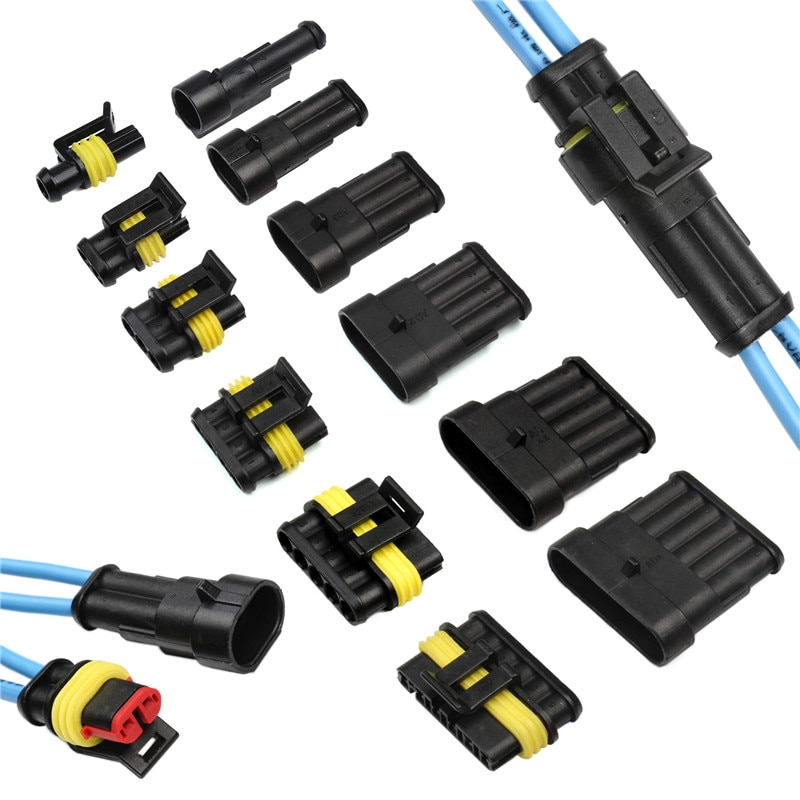hzy 2 5sets kit 2 pin 1 2 3 4 5 6 pins way amp super seal waterproof electrical wire connector plug for car waterproof connector 1/2/3/4/5/6 Pin Car Connector Waterproof Electrical Wire Connector Plug With Electrical Wire Cable Car Auto Truck Wire Harness