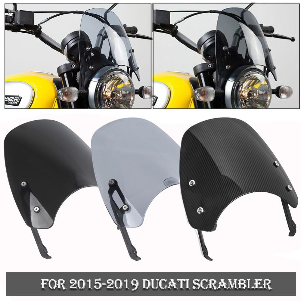Parabrisas delantero para motocicleta, pantalla protectora para parabrisas con soporte para 2015 2016 2017 2018 2019 2020 Ducati, Deflector para viento