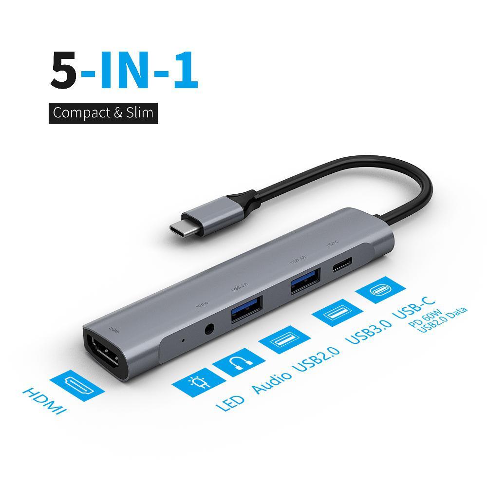 Estaciones de acoplamiento de ordenador portátil 5 en 1 Tipo C HUB a USB-C USB3.0 1080P HDMI PD convertidor de alta velocidad de transmisión
