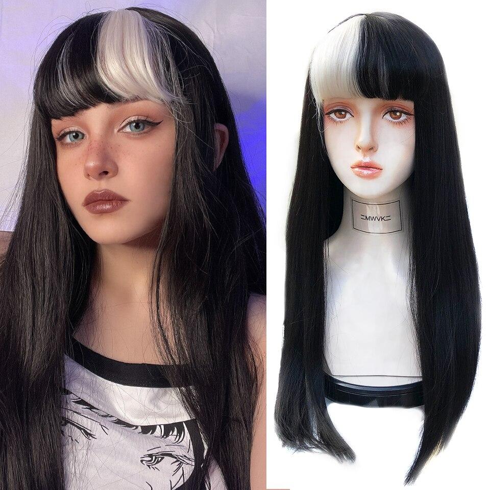 HOUYAN شعر مستعار تأثيري طويل مستقيم الشعر الأسود يبرز الفضة شعر مستعار اصطناعي سلسلة الظلام اللون الأبيض شعر مستعار الانفجارات