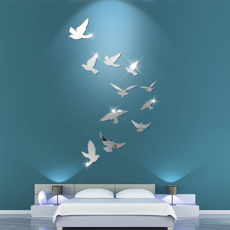 11PCS Acrylic Bird Mirror Wall Stickers PVC Decal Bedroom Living Room Decoration DIY TV Background Wall Decor Home Accessories
