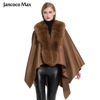 ladies genuine cashmere ponchos fashion style fur capes with real fox fur women winter shawl s7357