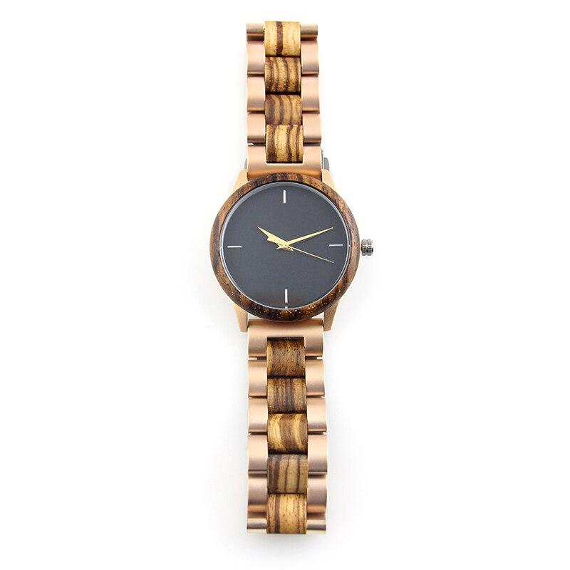 2021 Ladies Fashion Top Brand Luxury Rose Golden Hand Stainless Steel Band Zebra Wooden Quartz Wrist Watch for Women enlarge