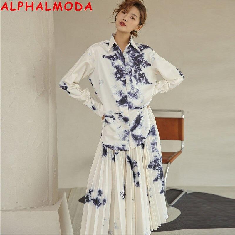 Alpha almoda طلاء حبر التعادل صبغ الطباعة بأكمام طويلة العصرية قميص مطوي تنورة عالية الخصر المرأة 2 قطعة بدلة على الموضة