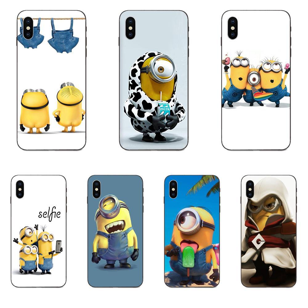 Soft TPU Art Print For Galaxy A3 A5 A6 A6s A7 A8 A9 A10 A20E A30 A40 A50 A60 A70 A80 A90 Plus 2018 Yellow Lovely Minions Black