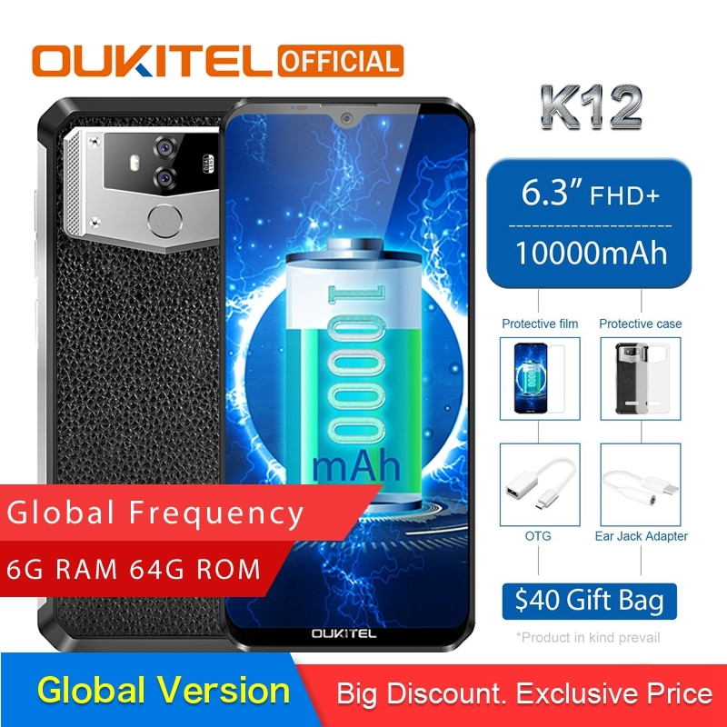 "Oukitel k12 android 9.0 telefone móvel 6.3 ""19.5 9 mtk6765 6g ram 64g rom nfc 10000 mah 5 v/6a carga rápida impressão digital smartphone"