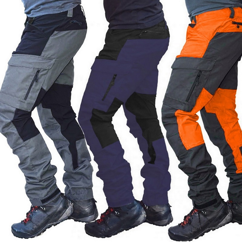 New Casual Men Fashion Color Block Multi Pockets Sports Long Cargo Pants Work Trousers for Men Outdo