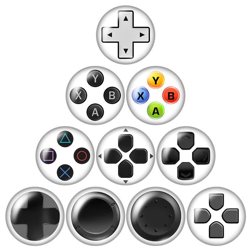 Botón de Gamepad para videojuegos ZB1206, 10 Uds. De 12mm/16mm/18mm/25mm, cabujón de cristal redondo para fotos, demostración, accesorios de reverso plano
