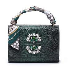 2020 Women Crocodile Crystal Tote Bag Nice Charming Lady Shoulder Handbag Hot Ins Clutch Purse Crocodile Rectangular Suitcase