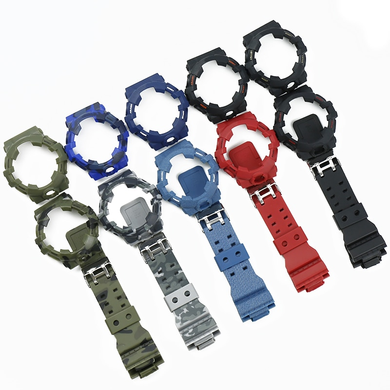 Camo resina pulseira caso relógio masculino acessórios para casio G-SHOCK ga700 ga735 esportes à prova dwaterproof água pulseira de borracha senhoras relógio banda