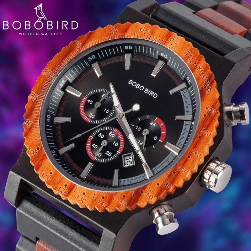 BOBO BIRD Big Size Men Watch Handmade Wooden Luxury Watches Chronograph Christmas Family Gift reloj hombre