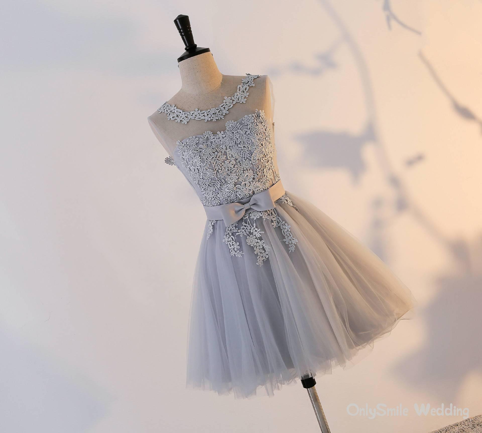 Vestidos curtos Prom 2019 Sexy Backless Lace Up Cinza Prom Vestido Formal Mulheres Ocasião Vestidos de Festa Robe De Soirée
