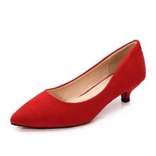 Grande taille 34-43 femme chaussures daim cuir Med talons femmes escarpins Stiletto femme travail chaussure bout pointu mariage chaussures JS-B0004