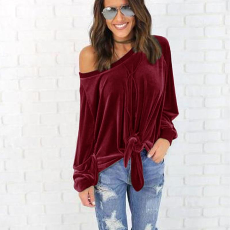 Camisetas sexis de terciopelo de un hombro para mujer, camisetas de manga larga, jerseys de terciopelo cálido sólido, blusas casuales holgadas de cintura para mujer