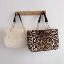 Fausse fourrure grande capacité léopard sac à bandoulière femmes 2019 hiver en peluche sac à bandoulière dames chaud sac à main fille Christma