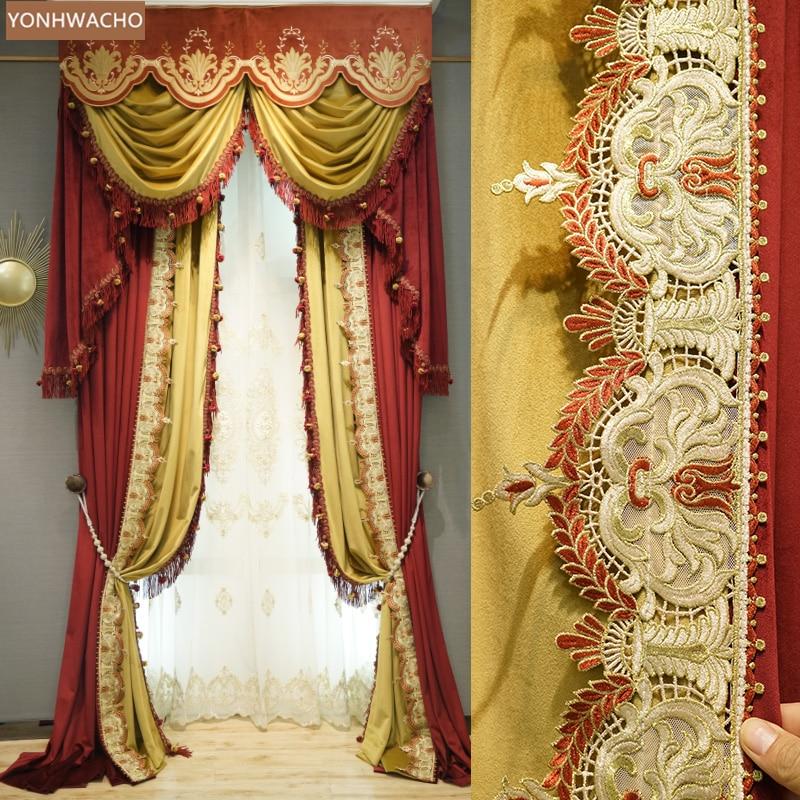 Cortinas personalizadas de lujo europeo retro Palacio de alta clase terciopelo vino rojo paño grueso cortina opaca cenefa tul panel C116