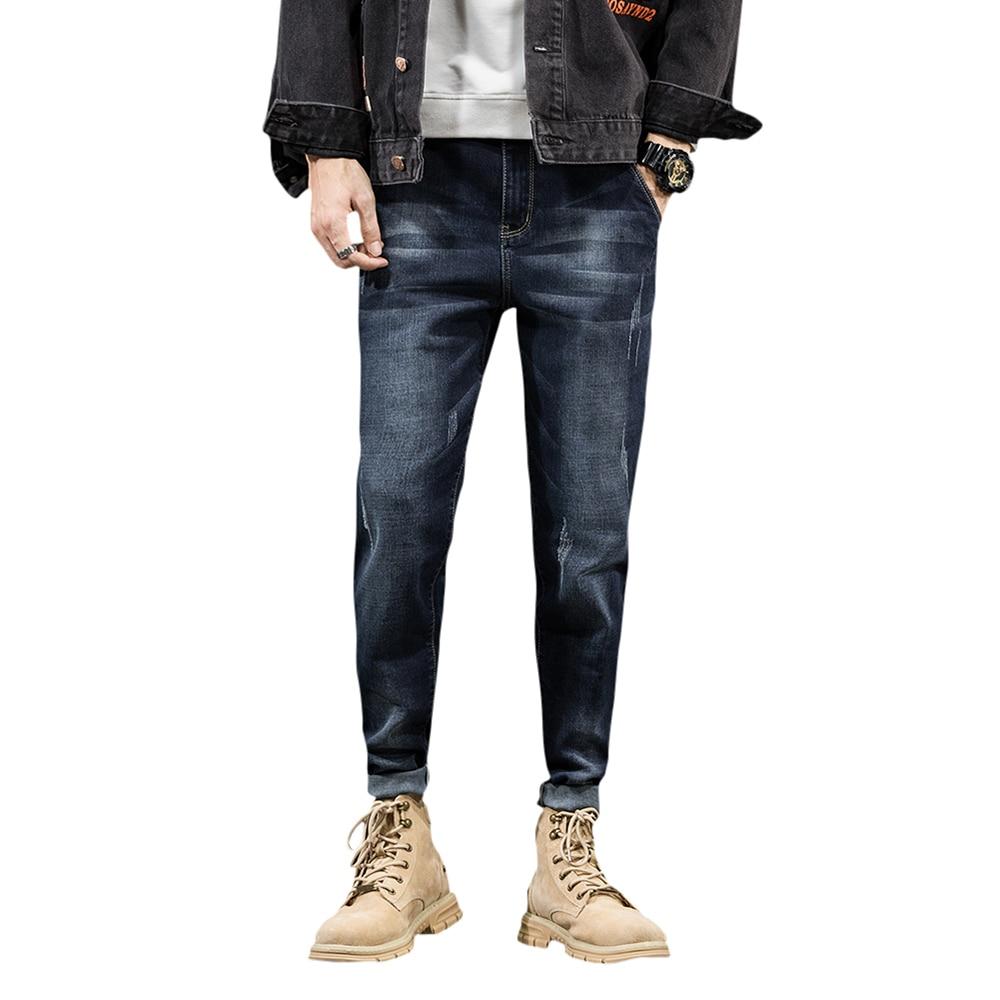 Мужские весенние темно-синие джинсы, дизайнерские байкерские джинсы, стрейч, повседневные мужские джинсы высокого качества, хлопковые мужс...