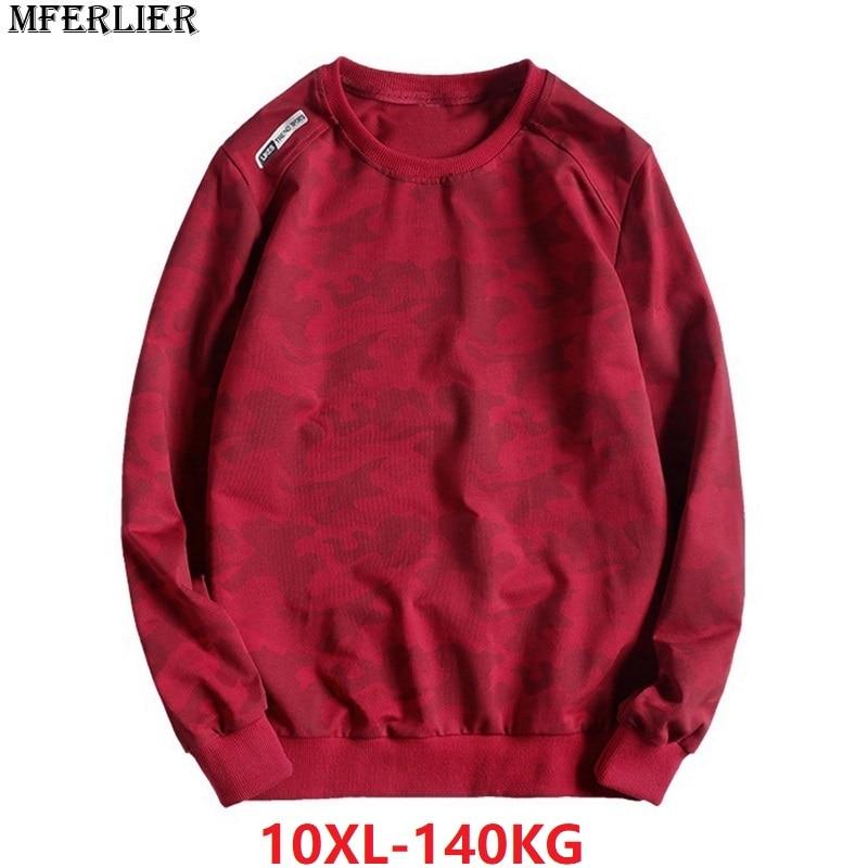 spring men 10XL camouflage Sweatshirts sports large size hoodies 9XL 8XL casual sprotwear Sweatshirts 54 56 58 140KG loose black