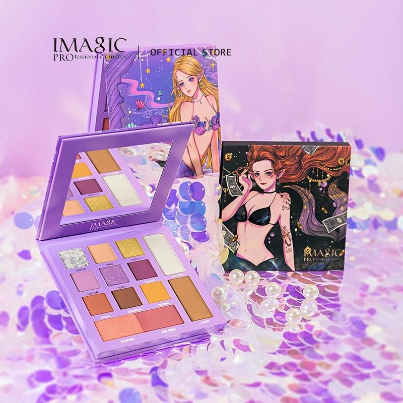IMAGIC Lasting Eyeshadow Palette 13-Color Sunrise Glitter Earth Color Anti-Smudge Cosmetic Portable Set