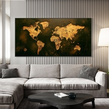 Vintage Gouden Wereldkaart Foto Canvas Schilderij Decor Schilderen Olieverf Modern Wall Art Foto Poster In Livingroom Home