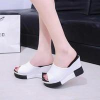summer women platform sandals woman slides sandals beach shoes platform slip on round toe white flip flops slippers